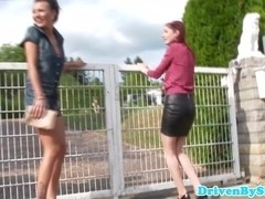 Euro babe squirts and ###s on two hotties