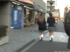 Group street sharking with two sexy schoolgirl being nicely intercepted