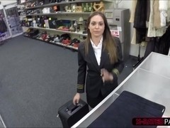 Sexy Latina stewardess sells a luggage full of junk gets fucked
