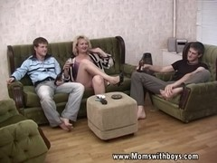 Blond ### Mama in Threesome With Young Boys