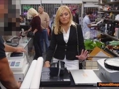 Blonde MILF Pawnshop owners cock and fucks for extra money