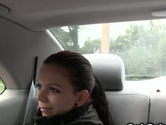 Euro redhead wanks and fucks in taxi