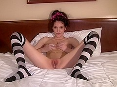 Horny masturbation record with stockings, skinny, brunette, solo girl scenes