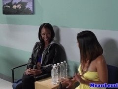 Lesbo massage fun with ebony asian and blonde
