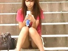 Amazing upskirt clip with a really cool Asian coquette