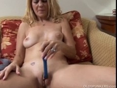 Excited blond mother I'd like to fuck shows off the hawt piercing on her twat