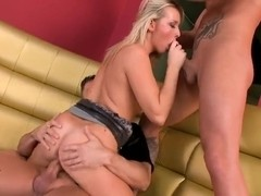 Kitty Cat works two dicks simultaneously