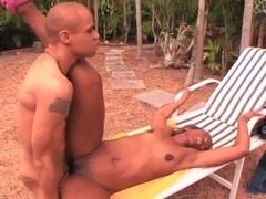 Black milf Ms. Satin pleasures young pale stud