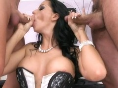 Cock starving bitch Larissa Dee is sucking one pole at a time with pleasure
