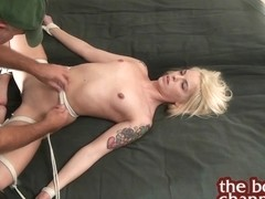 Tying Up A Sexy Stripped Golden-Haired