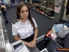 Latina Flight Attendant gives Pawnshop owner a bj in public