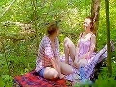 cute lesbians playing in the woods