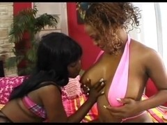 Hot black lesbians playing with their toys