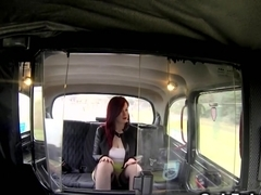 Redhead flashing cunt in fake taxi