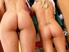 Lusty blondes in three-some with anal sex