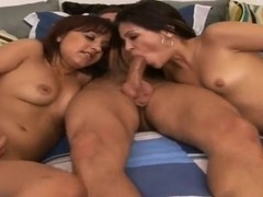 Two Latina hotties share one older man's dick