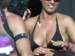 Party girl shakes her glittered boobs