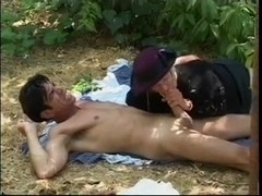 The widow gets fucked outdoors