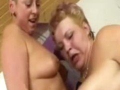 2 old matures lesbo in act with sex tool