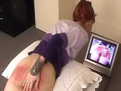 This Babe is watching her own caning