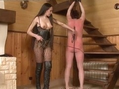 Spanked trampled and strapon fucked guy