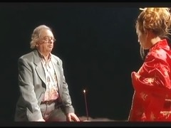 Old lad teased by an oriental masturbating...