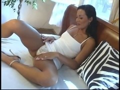 Sexy constricted assed Latin Babe receives a double penetration on the bed