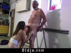 Rellever girl gets ass slap and old dick as punish