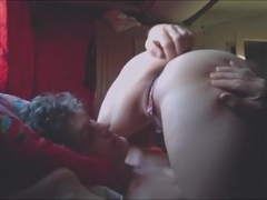 Bulky slut in petite pants receives her twat done