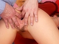 Naughty russian slut Olga Barz gets hairy cunt stretched