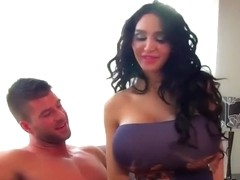 Brunette with huge fake boobs gets nailed