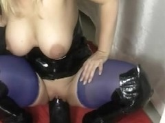 Horny blonde lady rides with her globes a kinky sex toy