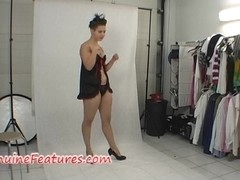 Sexy chick in latex dress in backstage clip