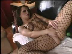 Katja in fishnet bodystocking acquires bent over and screwed