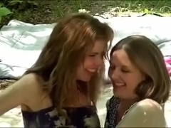 two delightful elegant lesbians have joy in the mud bath