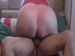 big beautiful woman rides and copulates doggy style