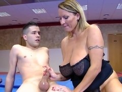 Naughty MILF sucking at the gym for the 1st time