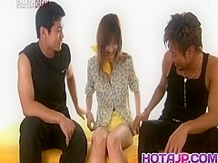 Mio Komori Asian sweetie is stripped and fucked in a threesome