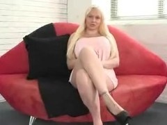 Blonde with huge tits fucks a dildo