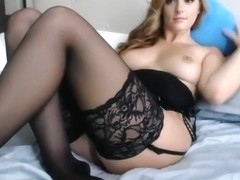Pretty mother in dark nylons masturbates lustfully