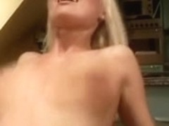 Golden-Haired with large titts receives screwed hard in the kitchen
