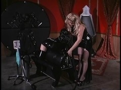 Blonde Female-Dominant locks her villein in a chest