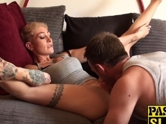 Trashy blonde babe enjoys having rough sex with her master