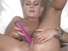 Golden-Haired sweetheart in sofa pets her snatch