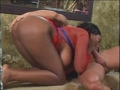 Dark beauty in red mesh shirt acquires dominated in basement