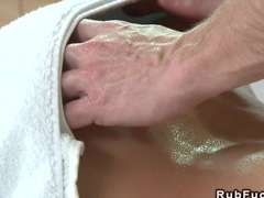Hairy pussy babe fucked after massage