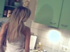 Shy girlfriend getting stripped in her mammas kitchen