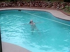 My wife drilled hard at the pool