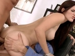 Teen redhead is drilled by two kinky dudes