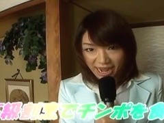 Mitsu Anno gets cock deepthroat and cum in mouth in foo
